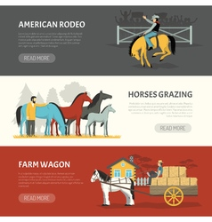Popular Horses Breeds Horizontal Banners Set vector image