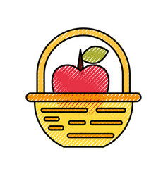 Straw basket with apples vector