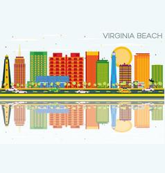 virginia beach skyline with color buildings vector image
