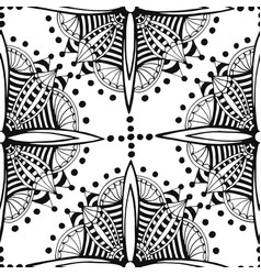 zentangle seamless pattern black and white vector image