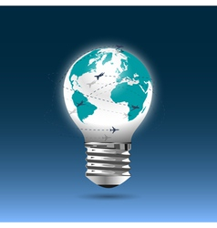Bulb light globe with flying planes vector image
