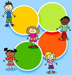 Cartoon kids and color circles vector image vector image