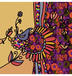 Floral background with birds and pattern vector image