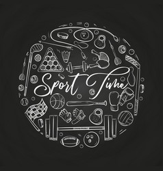 hand drawn sports things on blackboard vector image