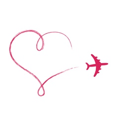 Heart shaped icon in air made by plane vector image vector image