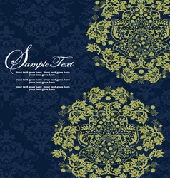 Navy and Lime Floral Wedding Invitations vector image vector image