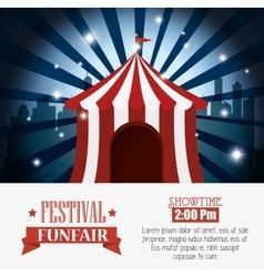 poster tent festival funfair city background vector image