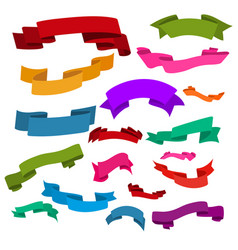 set of multi-colored beautiful ribbons for gift vector image