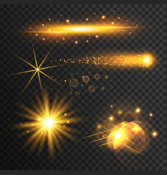 set of transparent golden light effect vector image