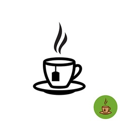 Tea cup black outline silhouette with teabag and vector image