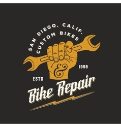 Bike Repair Abstract Vintage Sign Label or vector image