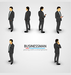 businessman in various poses with mobile phone vector image