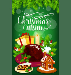 christmas pudding and gift greeting card design vector image