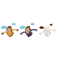 doodle character for skydiver vector image vector image