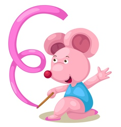 Female gymnast mouse with ribbon vector