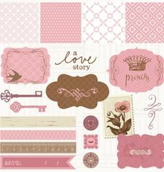 scrapbook design elements - vintage love set vector image