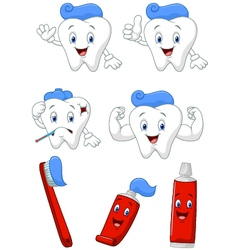Tooth brush and tooth paste cartoon character col vector image