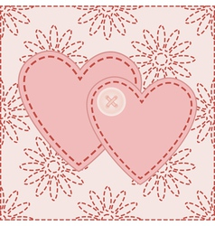 Valentines sewed with button vector