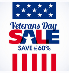 veterans day sale banner or poster template vector image