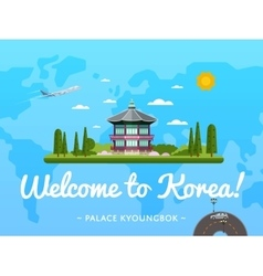 Welcome to Korea poster with famous attraction vector image