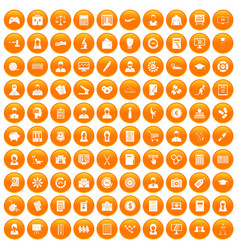 100 statistic data icons set orange vector