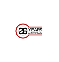 26 years anniversary with circle outline red vector