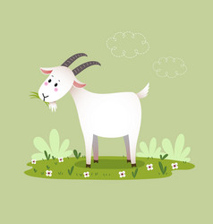 a cartoon goat eating grass vector image