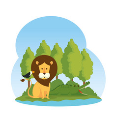 African lion with toucan in the savannah vector