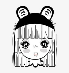 anime nice tender woman with costume vector image