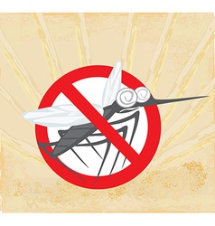 Anti mosquito sign with a funny cartoon mosquito vector image
