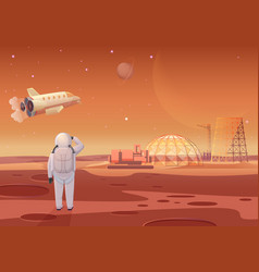 Astronaut standing at mars vector