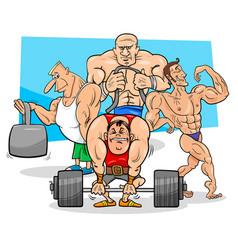 Athletes at the gym cartoon vector