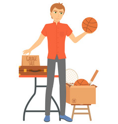Ball and racket sell handbag sale seller vector