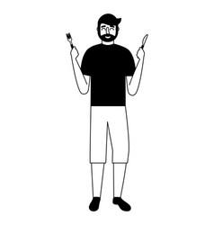 Beardded man holding fork and knife vector