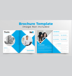 Bifold business brochure design with rectangle vector