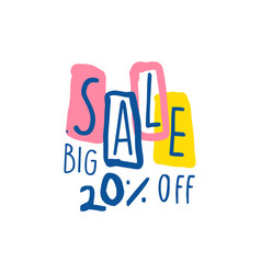 big sale 20 percent off logo template special vector image