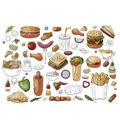 big set fast food color elements sandwiches vector image