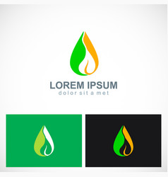 bio green leaf organic oil logo vector image