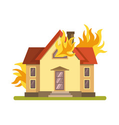 Blazing double decker house burning with fire on vector