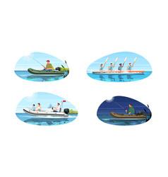 Boat types for activity semi flat set vector