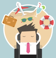 Businessman dreaming about his vacation vector