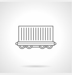 cargo wagon flat line icon vector image