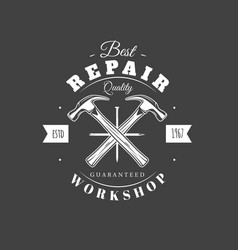 carpentry label isolated on black background vector image