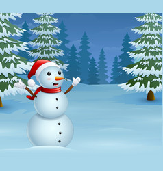 cartoon christmas snowman with snowy pine trees vector image
