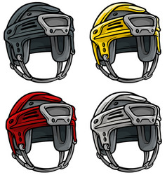 cartoon ice hockey sport helmet icon set vector image