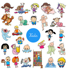 cartoon kids characters big set vector image