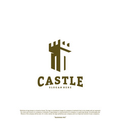 castle logo design concept castle tower logo vector image