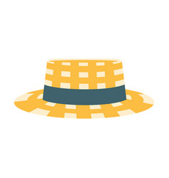 checkered male straw hat with ribbon part of vector image