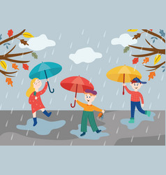 cheerful children playing under umbrella in rainy vector image