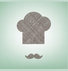 chef hat and moustache sign brown flax vector image